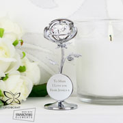 Personalised Silver Plated Crystocraft Rose Ornament