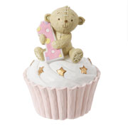 Button Corner Teddy on a Cupcake 1st Birthday Pink Money Box