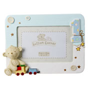 Button Corner First Birthday Blue Photo Frame