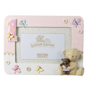 Button Corner Teddy 1st Birthday Pink Photo Frame