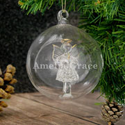 Personalised Glass Angel Bauble Name Only