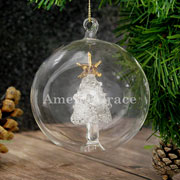 Engraved Name Only Glass Christmas Tree Bauble