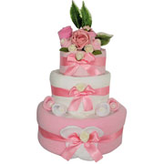 Three Tier Girls Pink Baby Clothes Nappy Cake