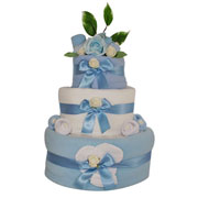 Three Tier Boys Blue Baby Clothes Nappy Cake