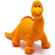 Extra Large Knitted Orange Diplodocus Soft Toy