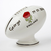 Personalised Bone China Rugby Ball Money Box