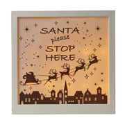 Wooden Santa Stop Here Frame With LED Light