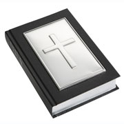Plain Solid Silver Cross Black Leather Gem Bible by Carrs