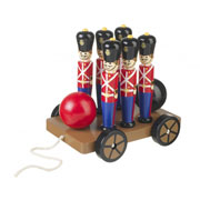 Soldier Skittles On Wheels Set Wooden Toy