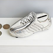 Personalised Silver Plated Football Boot Money Box