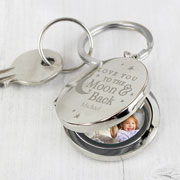 Personalised To the Moon and Back Photo Keyring Any Message