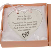 Special Flower Girl Porcelain Heart Plaque