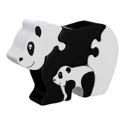 Fair Trade Panda & Baby 4-Piece Wooden Jigsaw by Lanka Kade