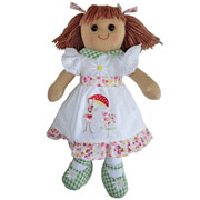 Medium Rag Doll with Rabbit Embroidered Dress