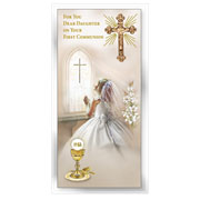 Boxed Daughter First Holy Communion Card with Book