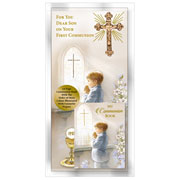 Boxed Son First Holy Communion Card with Book