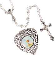 Metal Filigree Bead Rosary with Matching Heart-Shaped Box