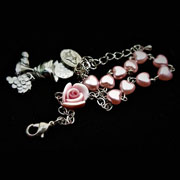 First Holy Communion Rosary Bracelet with Pink Hearts