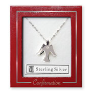 Sterling Silver Confirmation Dove with Crystal Necklace