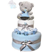 Two Tier Blue Baby Boy Tatty Teddy Nappy Cake Baby Gift