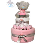 Two Tier Pink Baby Girl Tatty Teddy Nappy Cake Baby Gift