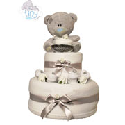 Two Tier Unisex Tatty Teddy White Nappy Cake Baby Gift