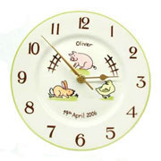 Personalised Bone China Farm Animals Clock