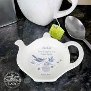 Personalised Country Diary Blue Blossom Tea Bag Rest