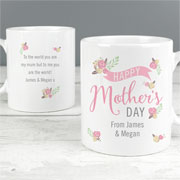 Personalised Floral Bouquet Mother's Day China Mug
