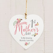 Personalised Floral Bouquet 1st Mothers Day Wooden Heart