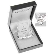Silver Plated Expandable Cross Christening Bangle