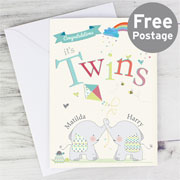 Personalised Hessian Elephant Twins Card – Free Postage