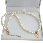 Ivory Pearl and Rose Gold Necklace With Engraved Heart