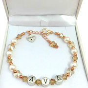 Pearl and Rose Gold Butterfly Princess Name Bracelet