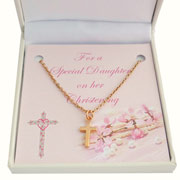 Rose Gold Cross Christening Necklace