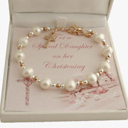 Rose Gold and Silver Freshwater Pearl Christening Bracelet