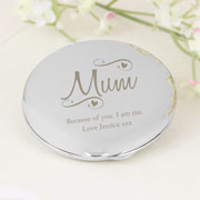 Personalised Mum Swirls & Hearts Compact Handbag Mirror