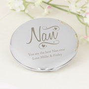 Personalised Nan Swirls and Hearts Compact Handbag Mirror