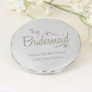 Personalised Bridesmaid Swirls and Hearts Compact Mirror