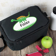 Personalised Dinosaur Insulated Black Lunch Sandwich Bag