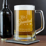 Personalised No.1 Grandad Glass Pint Stern Tankard
