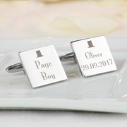 Personalised Decorative Wedding Page Boy Silver Cufflinks