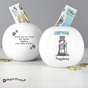 Personalised Bang On The Door Wedding Boy China Money Box