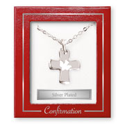 Silver Plated Confirmation Dove on Cross Necklet