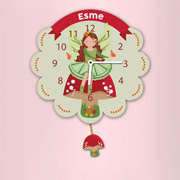 Personalised Fairy Toadstool Pendulum Wall Nursery Clock