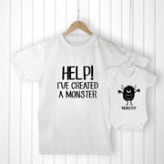 Personalised Daddy and Me Little Monster Clothing Set