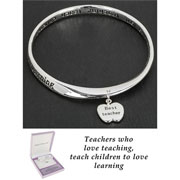 Teachers Silver Plated Dangling Apple Bangle