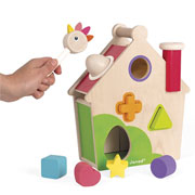 Janod Zigolos Hen Activity House Wooden Shape Sorter