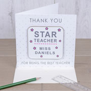 Star Teacher Personalised Coaster Card Free Delivery