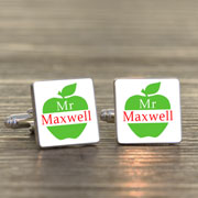 Silver Plated Teacher Apple Cufflinks